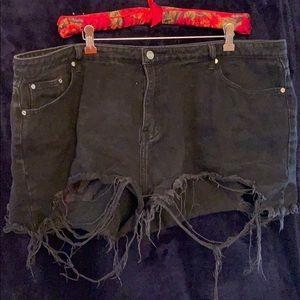 Misguided Distressed Black Denim Shorts